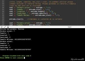 Uso de la biblioteca String en C++