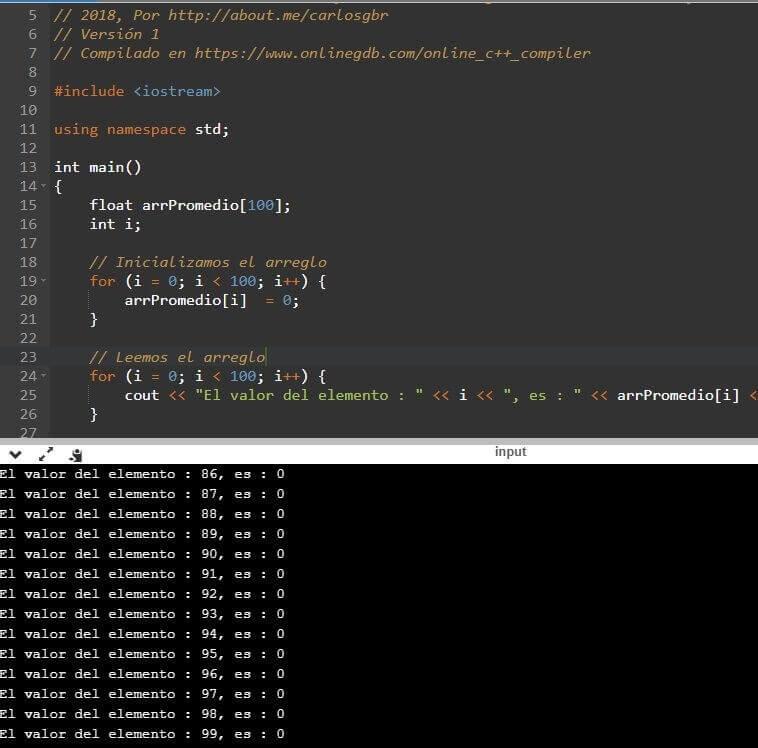 Salida del programa de matrices con for