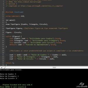 Ejemplo de enumeradores en C++