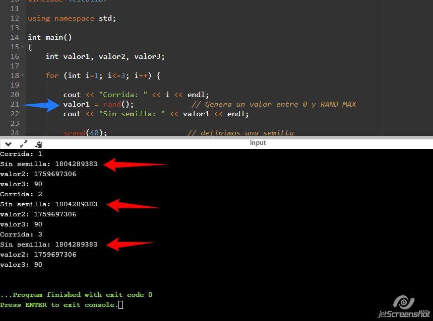 Generación de números Pseudo aleatorios en C++