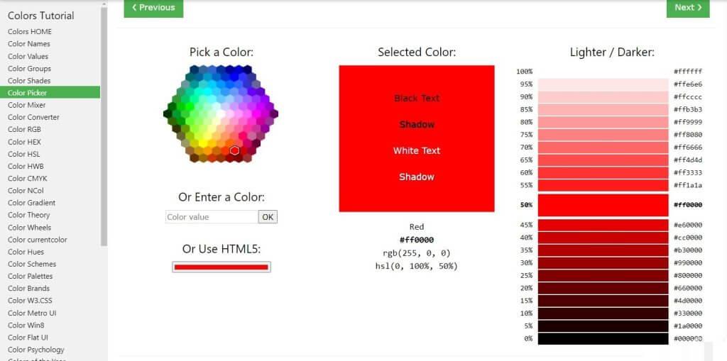 Color Picker de W3DSchools