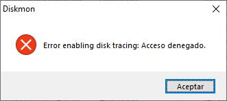 DiskMon - Se debe ejecutar con permisos administrativos