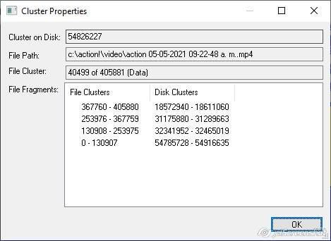 Características del archivo en disco